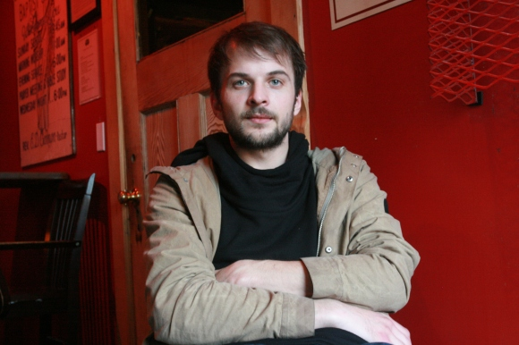 Nils Frahm in the Mississippi Studios green room, March 19th, 2014. Photo by Yousef Hatlani.