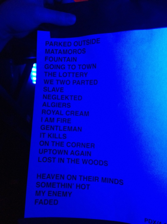Spoiler! The Afghan Whigs' set list last night. No other photography was permitted during the night.  Photo credit: Yousef Hatlani